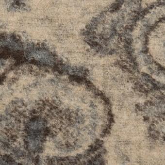 ウール&ナイロン×ペイズリー(ブルーグレー、ブラウン&ベージュ)×ジャガードニット サムネイル1