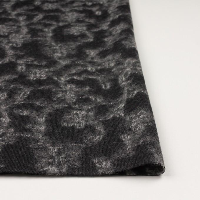 ウール×幾何学模様(ブラック&オフホワイト)×ジャガードニット_全2色 イメージ3
