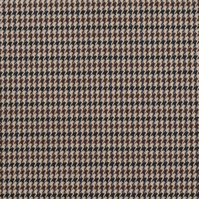 ポリエステル&レーヨン混×チェック(ベージュ&ブラウン)×千鳥格子ストレッチ_全2色 イメージ1