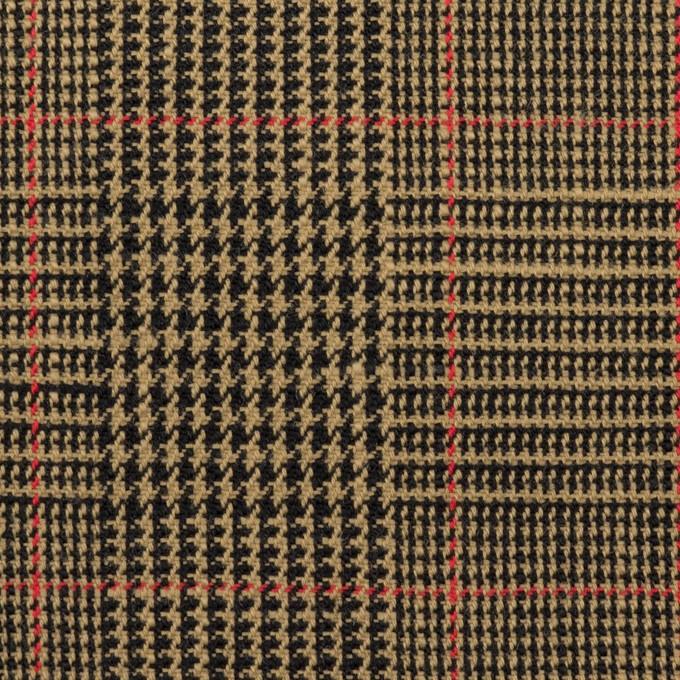 コットン&ウール×チェック(モカ&ブラック)×二重織_全2色 イメージ1