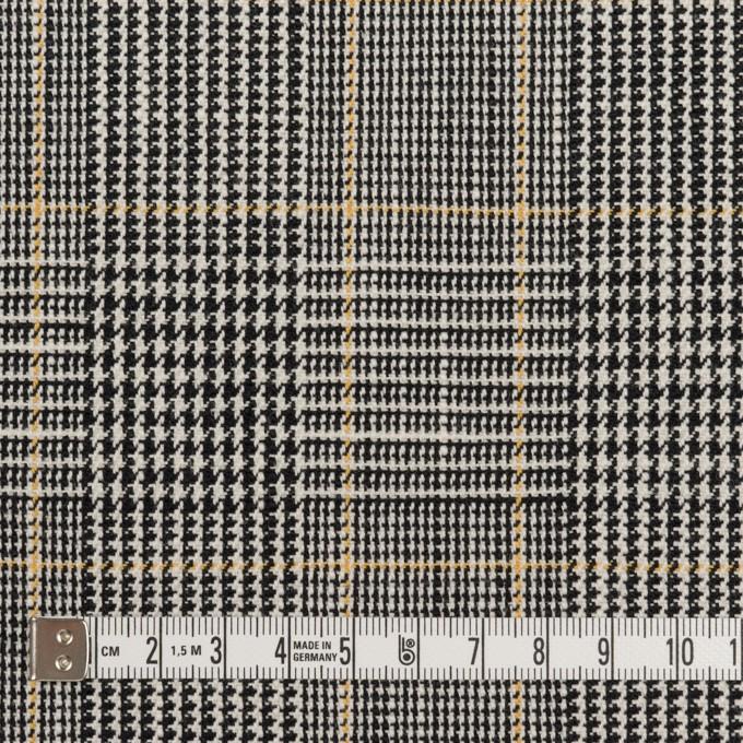 コットン&ウール×チェック(アイボリー&ブラック)×二重織_全2色 イメージ4