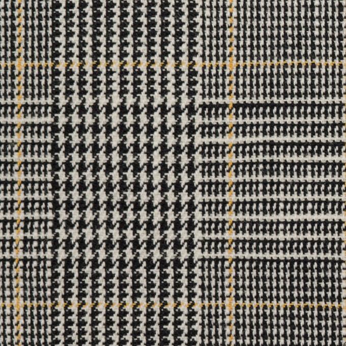 コットン&ウール×チェック(アイボリー&ブラック)×二重織_全2色 イメージ1