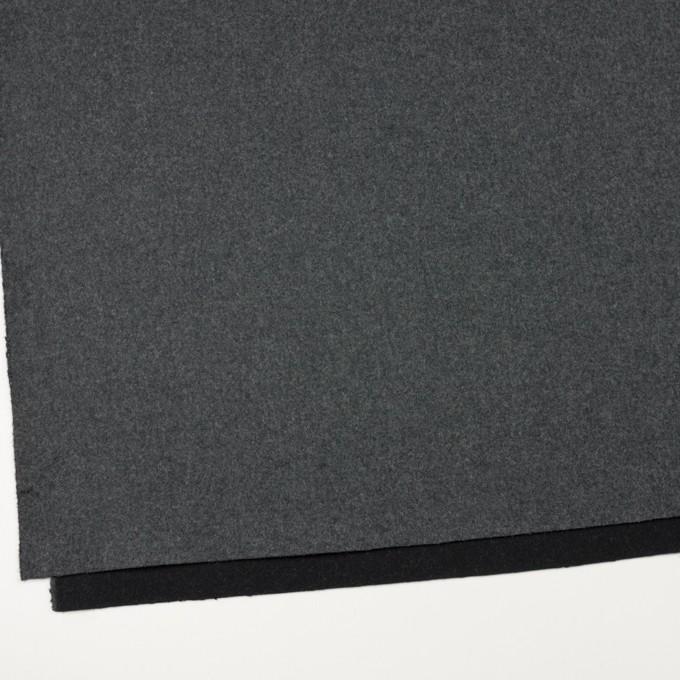 ウール×無地(チャコールグレー&ブラック)×Wフェイスフラノ(フランネル) イメージ2