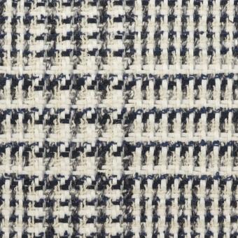 コットン&ウール×チェック(キナリ、ネイビー&グレー)×ファンシーツイード サムネイル1