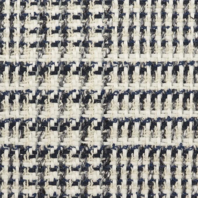 コットン&ウール×チェック(キナリ、ネイビー&グレー)×ファンシーツイード イメージ1