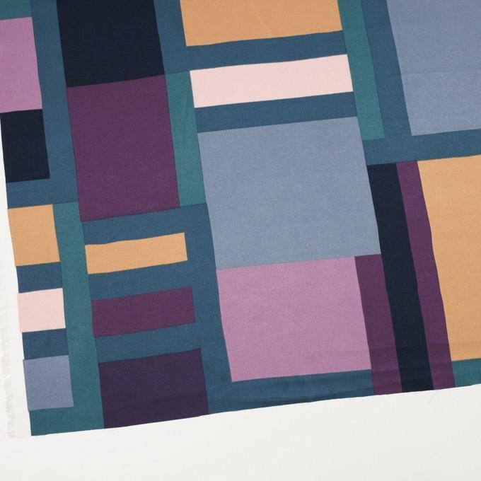 ポリエステル×幾何学模様(パープル&ブルーグレー)×サテン_全2色_パネル イメージ2