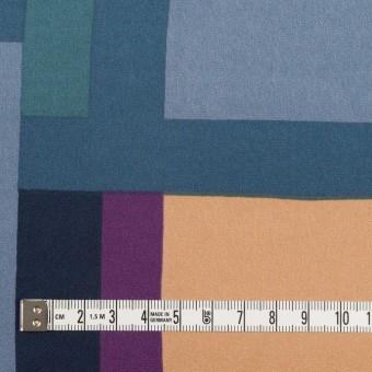 ポリエステル×幾何学模様(パープル&ブルーグレー)×サテン_全2色_パネル サムネイル4