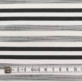 コットン&ポリエステル混×ボーダー(オフホワイト&チャコールブラック)×サージジャガード・ストレッチ_イタリア製 サムネイル4