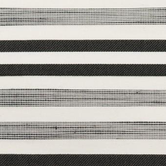 コットン&ポリエステル混×ボーダー(オフホワイト&チャコールブラック)×サージジャガード・ストレッチ_イタリア製 サムネイル1