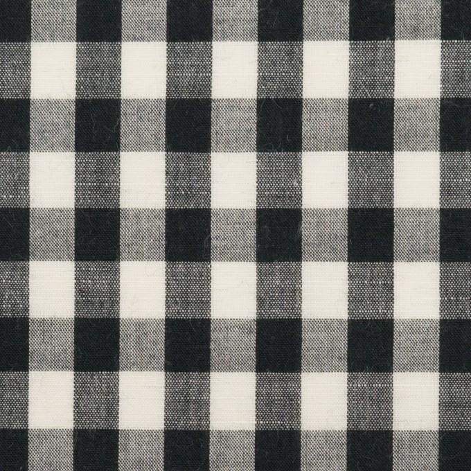コットン&リネン×チェック(アイボリー&ブラック)×ボイル イメージ1