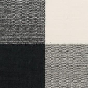 コットン&リネン×チェック(アイボリー&ブラック)×ボイル サムネイル1