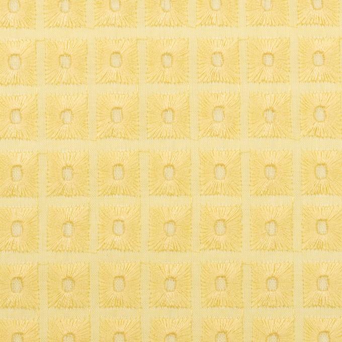 コットン×スクエア(イエロー)×ローン刺繍 イメージ1