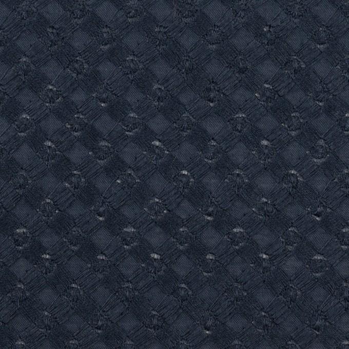 コットン×幾何学模様(ネイビー)×ローン刺繍 イメージ1
