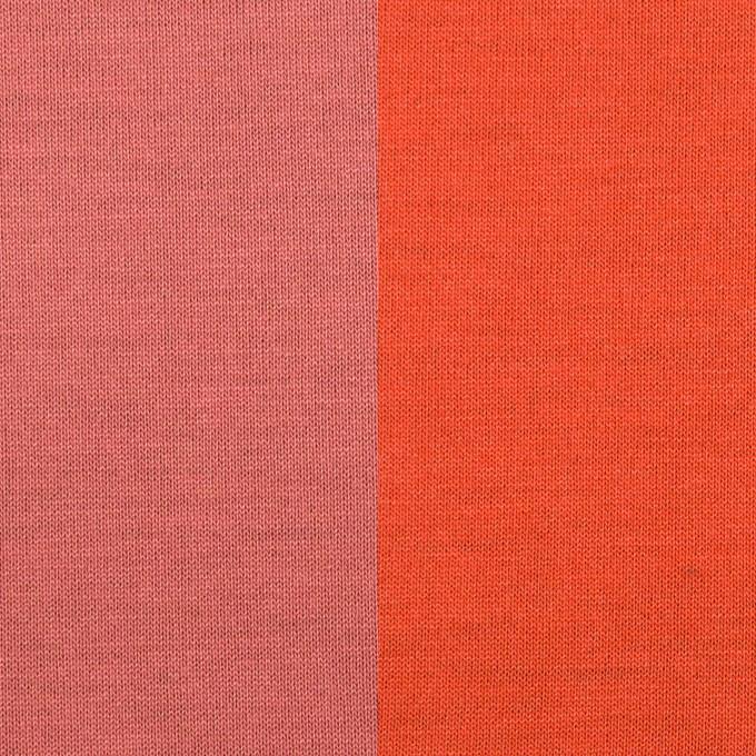 テンセル&ポリエステル×無地(コーラルピンク&パッションオレンジ)×Wフェイス天竺ニット(フォームラミネート加工)_全2色 イメージ1