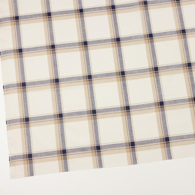 コットン×チェック(ベージュ&ネイビー)×ボイル イメージ2