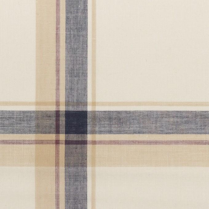 コットン×チェック(ベージュ&ネイビー)×ボイル イメージ1