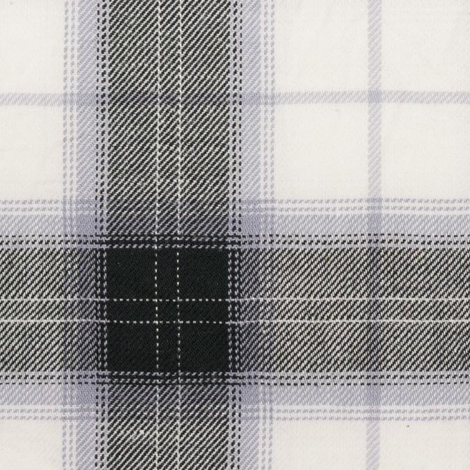 コットン&ナイロン×チェック(ブルーラベンダー&ブラック)×サージワッシャー イメージ1
