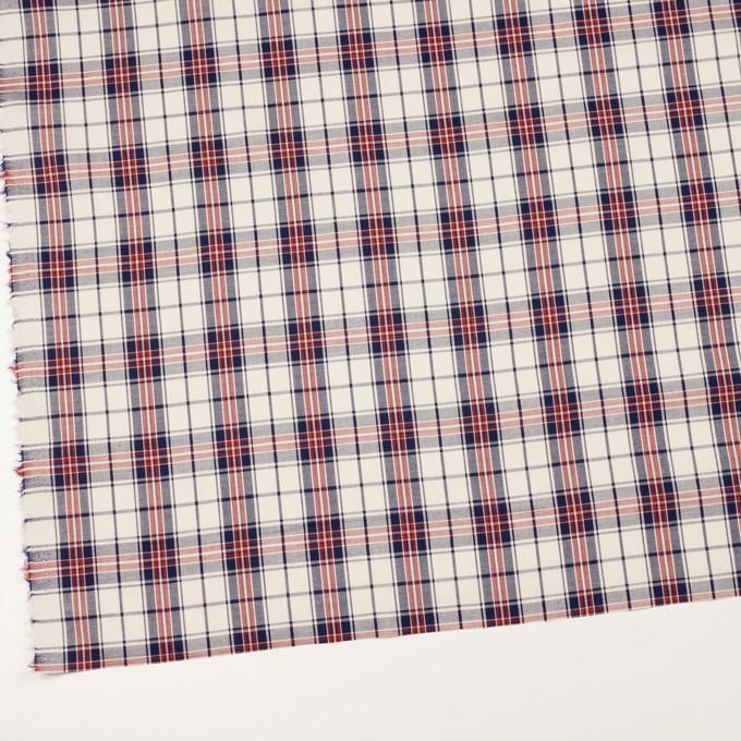 コットン×チェック(アイボリー、ネイビー&レッド)×ブロード イメージ2