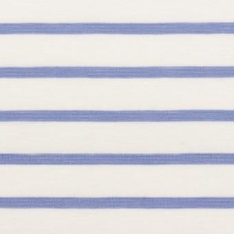 コットン×ボーダー(ホワイト&ヒヤシンスブルー)×天竺ニット_全2色 サムネイル1