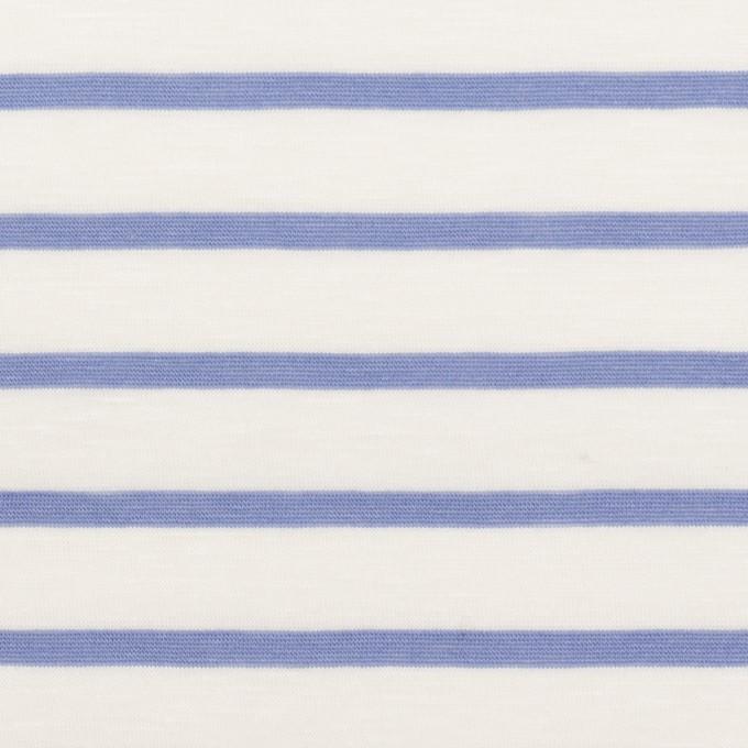 コットン×ボーダー(ホワイト&ヒヤシンスブルー)×天竺ニット_全2色 イメージ1