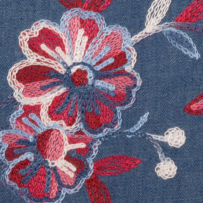 コットン×フラワー(アッシュブルー)×ダンガリー刺繍 イメージ1