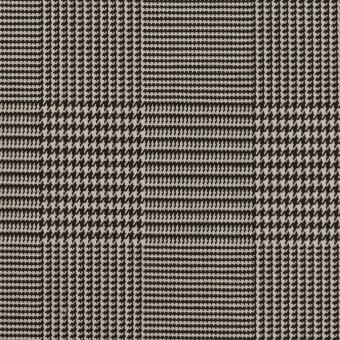 コットン&ポリエステル混×チェック(アイボリー&ブラック)×千鳥格子ストレッチ