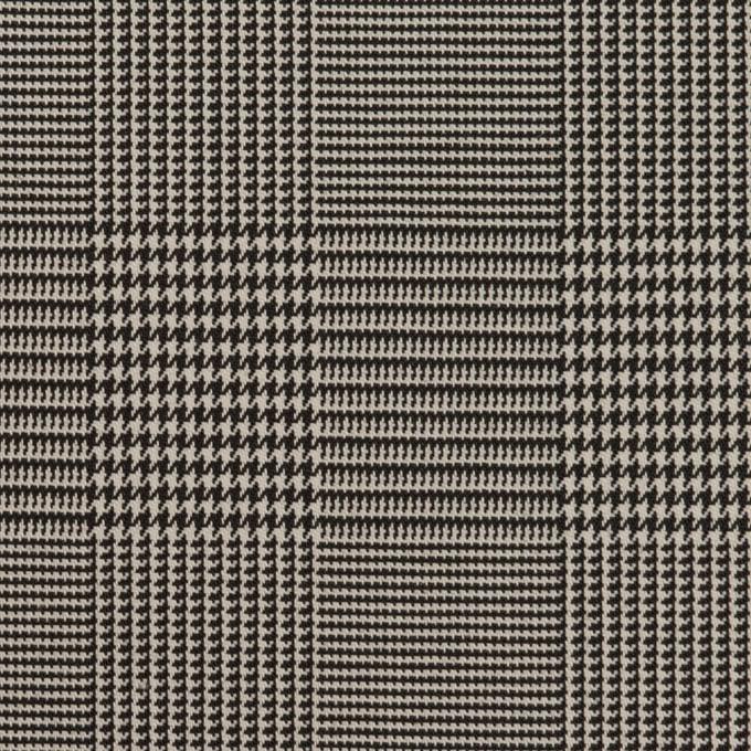 コットン&ポリエステル混×チェック(アイボリー&ブラック)×千鳥格子ストレッチ イメージ1