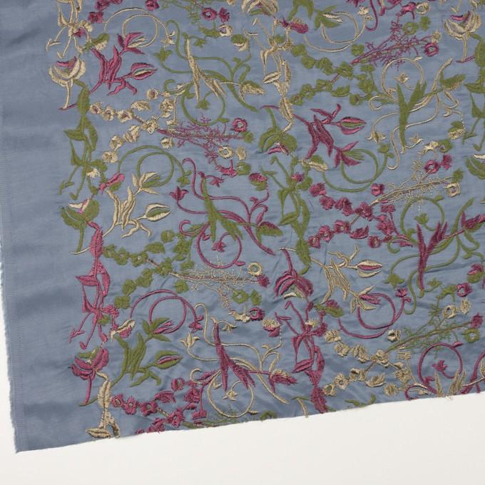 キュプラ&レーヨン×フラワー(ブルーグレー)×サージ刺繍 イメージ2