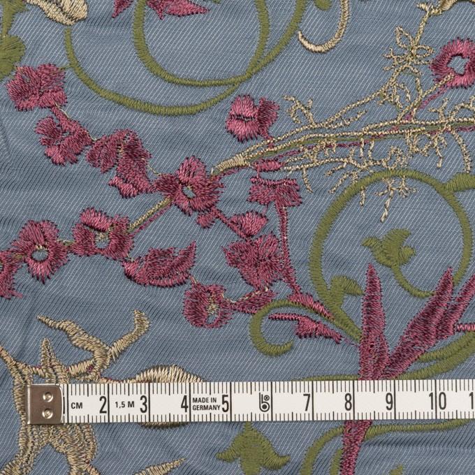 キュプラ&レーヨン×フラワー(ブルーグレー)×サージ刺繍 イメージ4