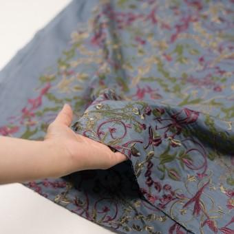 キュプラ&レーヨン×フラワー(ブルーグレー)×サージ刺繍 サムネイル5