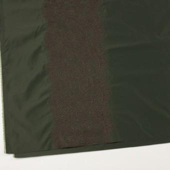 ポリエステル×レース(ディープグリーン&ブラウン)×形状記憶タフタ刺繍 サムネイル2