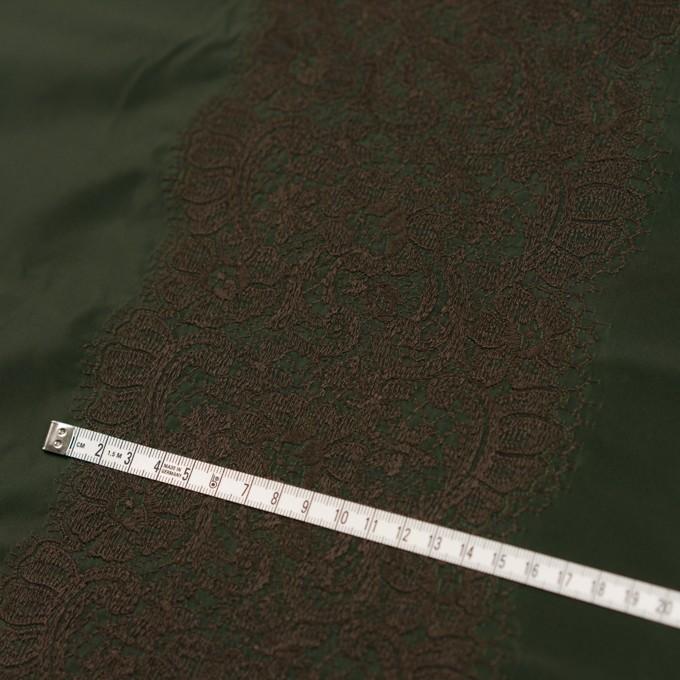ポリエステル×レース(ディープグリーン&ブラウン)×形状記憶タフタ刺繍 イメージ4