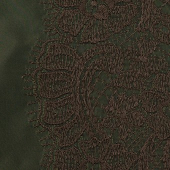 ポリエステル×レース(ディープグリーン&ブラウン)×形状記憶タフタ刺繍 サムネイル1