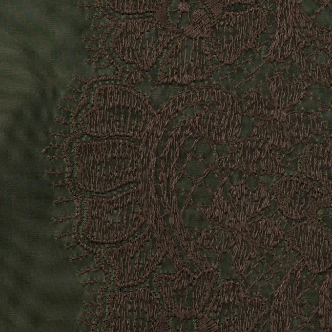ポリエステル×レース(ディープグリーン&ブラウン)×形状記憶タフタ刺繍 イメージ1