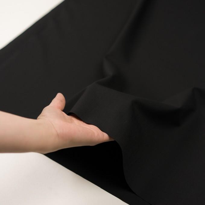 ウール&ポリウレタン×無地(ブラック)×ポプリンストレッチ イメージ5