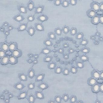コットン×フラワー(ペールブルー)×ボイル刺繍_全2色