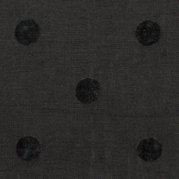 コットン&リネン×水玉(チャコール)×薄キャンバス イメージ1