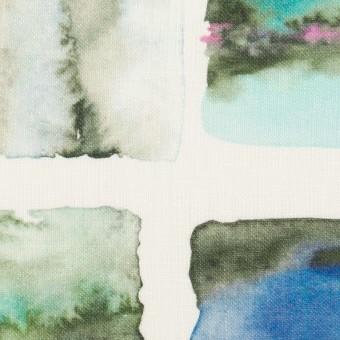 【150cmカット】リネン×スクエア(ブルー)×薄キャンバス_全3色