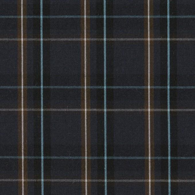 コットン×チェック(ダークネイビー&モカブラウン)×ブロード イメージ1