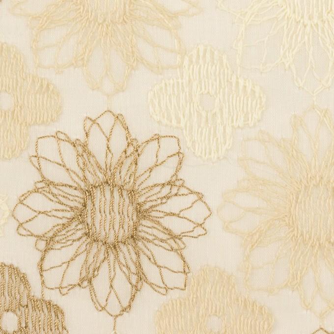 コットン×フラワー(ベージュ)×オーガンジー刺繍_全4色 イメージ1