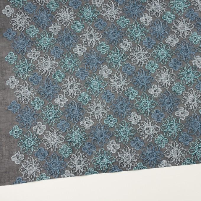 コットン×フラワー(ブルーグレー)×オーガンジー刺繍_全4色 イメージ2