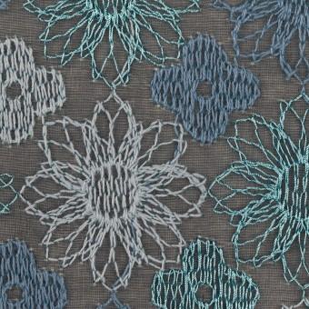 コットン×フラワー(ブルーグレー)×オーガンジー刺繍_全4色