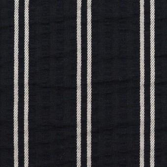 コットン&ポリエステル混×ストライプ(ブラック&ホワイト)×サッカー_全3色