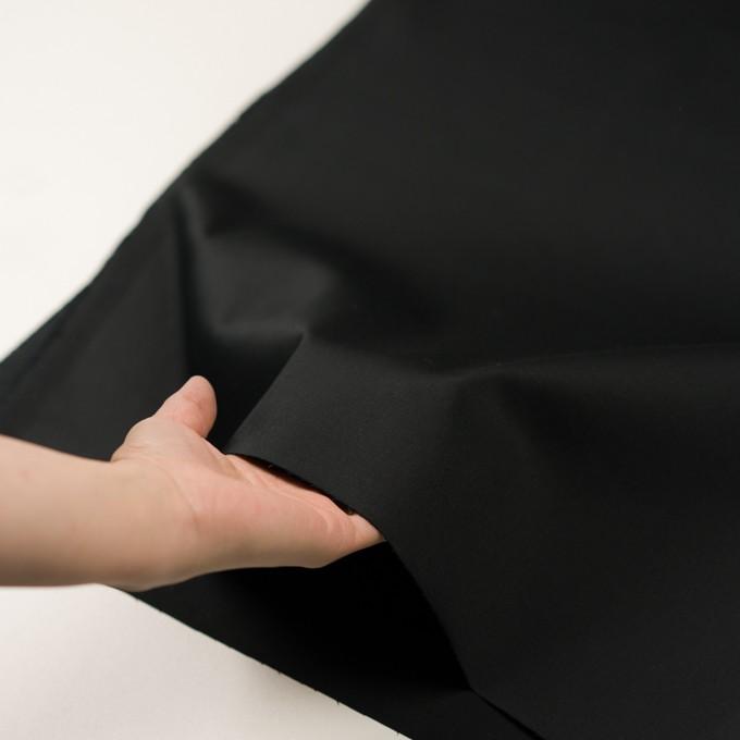 コットン&ポリウレタン×無地(ブラック)×サテンストレッチ イメージ5