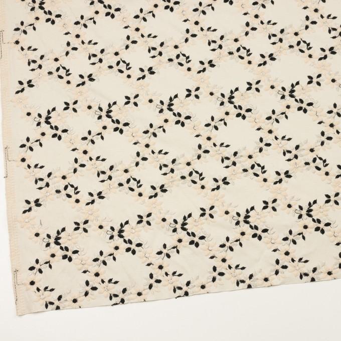 コットン×フラワー(キナリ&ブラック)×スムースニット刺繍 イメージ2