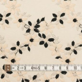 コットン×フラワー(キナリ&ブラック)×スムースニット刺繍 サムネイル4