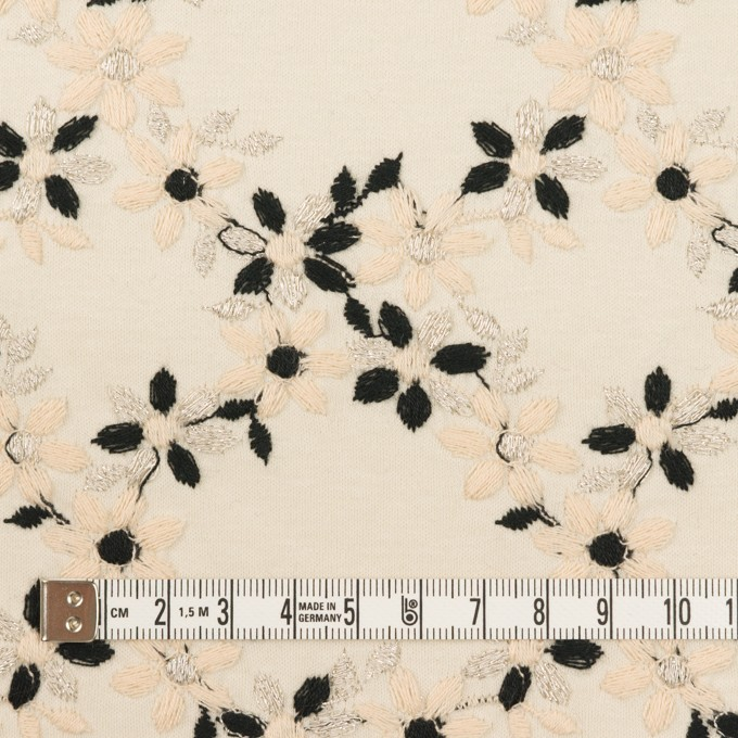 コットン×フラワー(キナリ&ブラック)×スムースニット刺繍 イメージ4