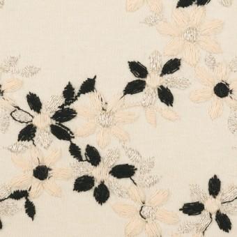 コットン×フラワー(キナリ&ブラック)×スムースニット刺繍