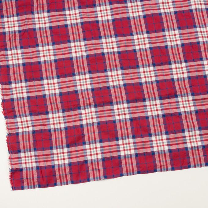 コットン&ポリウレタン×チェック(レッド&ブルー)×ヘリンボーン・シャーリング イメージ2