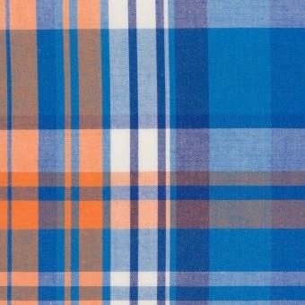 コットン×チェック(ブルー&オレンジ)×ブロード サムネイル1